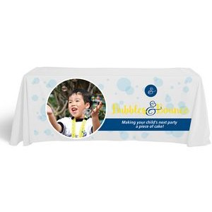 Economy 6' Flat Dye Sublimation Front Panel Imprint White Table Cover (132