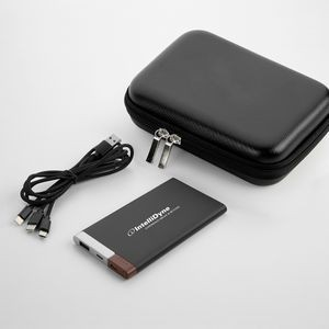 5,000 mAh UL Certified Contemporary 2 Tone Metal Power Bank with 3-in-1 cable giftset